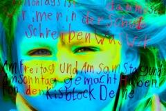 """KInder (im) Blick, 2008, 58x58cm, Digitalprint auf Banner, UL"